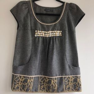 THEME Beaded Embroidered Linen Blend Top